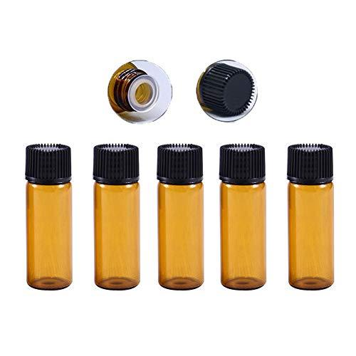 Suneast 20 botellas de aceite esencial de vidrio ámbar de 5 ml con tapón de rosca, mini frascos de laboratorio vacíos para aceites esenciales, laboratorio de química, perfumes