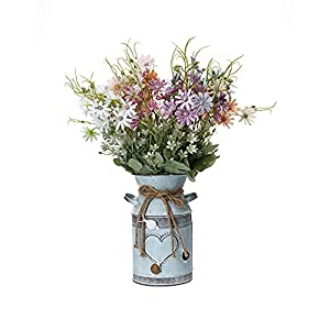 MiaTen 6 Clolor Artificial Daisy Silk Flower Wildflowers Faux Greenery Shrubs Plants Arrangements in 7.5″ H Rustic Heart-Shaped Milk Can Vase Decoration for Home Office Room Desk Table Centerpieces
