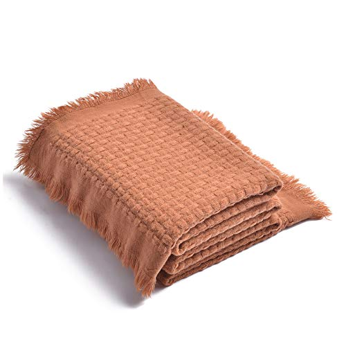 LIFEIN Soft Knit Throw Blanket for Couch - Cozy Woven Fall Lightweight Blanket, Farmhouse Textured Waffle Decorative Blankets Throws with Tassels for Bed