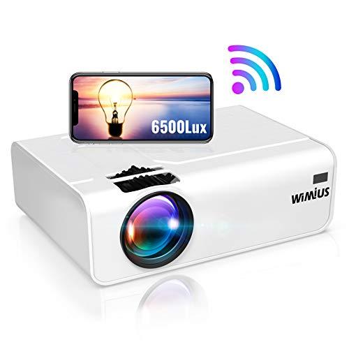 WiFi Beamer, WiMiUS 6500 LM Mini Tragbar Beamer Unterstützt 1080P Full HD Wireless 200