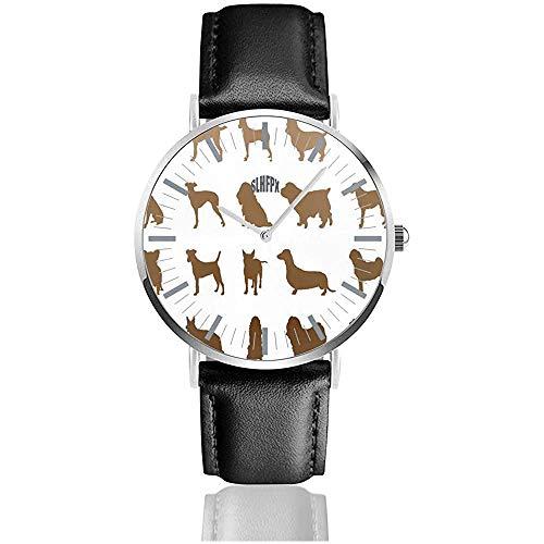 Reloj de Cuero de Razas de Relojes de Pulsera de Cuarzo de Acero Inoxidable