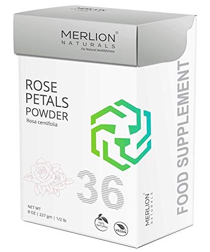 Rose Petals Powder by Merlion Naturals | Rosa centifolia | Food Grade | Ideal for Hair and Face Pack (8 OZ)
