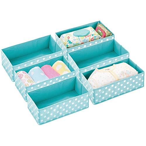mDesign boîte de Rangement pour Chambre d'Enfants, Salle de Bain, Armoire, etc. (Lot de 6) – Module de Rangement en Fibre synthétique – boîte en Tissu avec Motif à Pois – Bleu Turquoise et Blanc