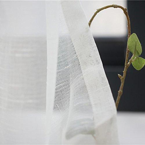 Simple Solide Coton et Lin Rideau Voilage,Blanc Nordique Style pour Salon Balcon Éboulis de fenêtre-Blanc 150x265cm(59x104inch)