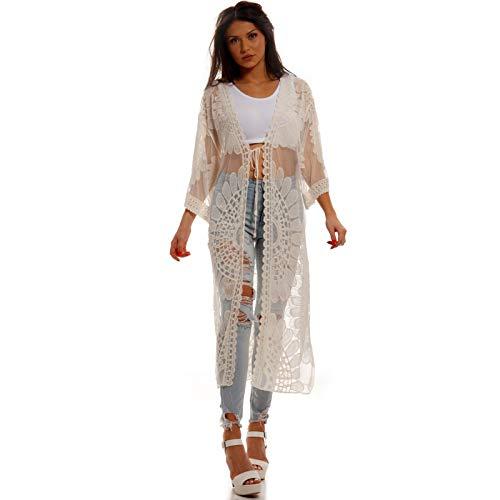 YC Fashion & Style Damen Strand Jacke Cardigan Transparent aus Spitze Kimono für den Strand Freizeit und Party Sommer Jumper One Size (One Size, Beige Model 2)