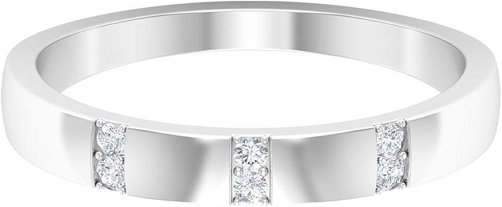 Rosec Jewels – HI-SI Diamond Wedding Band, Two Tone Ring, 14K Gold