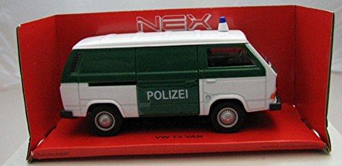 Welly DieCast metall Modellauto 1:36-39 Volkswagen VW T3 VAN Polizei grün weiss neu und box