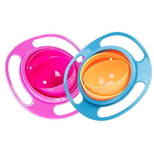 Gsyamh Bol Anti-Renversement Bol d'alimentation Bol en Plastique Qualité Alimentaire Bébé avec Couvercle Vaisselle pour Enfants Rotative Forme Gyroscope Empêcher Les Aliments Tomber, Belle Pratique