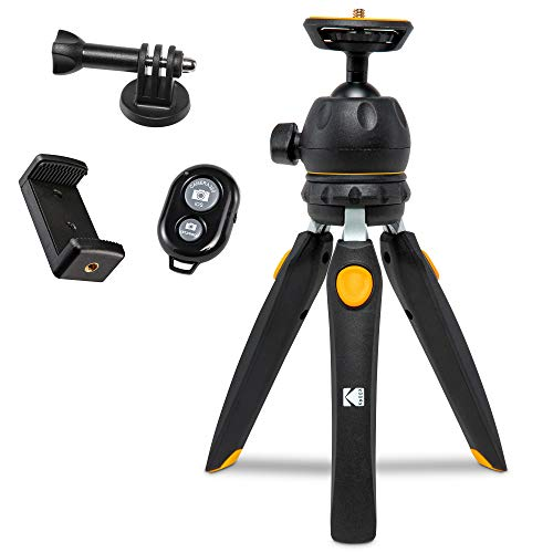 """KODAK PhotoGear Mini Adjustable Tripod with Remote, 360° Ball Head, Compact 9"""" Tabletop Tripod,11"""" Selfie Stick, 5-Position Legs, Rubber Feet, Smartphone & Action Camera Adapters, E-Guide Included"""