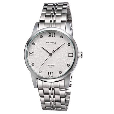 Schöne Uhren, Synoke Runde schlanke Zifferblatt Uhr Stahlband japanische Quarz-Wasserdichte Art und Weisearmbanduhr (Farbe : Weiß)