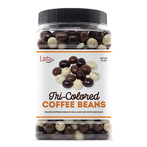 LaetaFood Chocolate Covered Espresso Beans Coffee Tricolor Bulk Candy, 30 Ounces