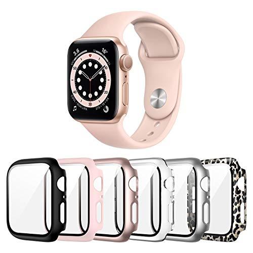 Landhoo Paquete de 6 fundas para Apple Watch Series SE/6/5/4 1.575in protector de pantalla con vidrio templado, PC duro HD cubierta completa protectora iWatch.