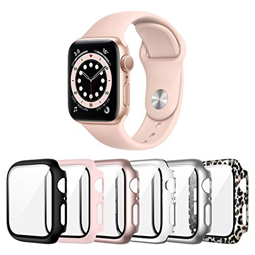Landhoo 6 Pack case for Apple Watch Series SE/6/5/4 40mm Screen Protector with Tempered Glass, Hard PC HD Full Cover Protective iwatch.