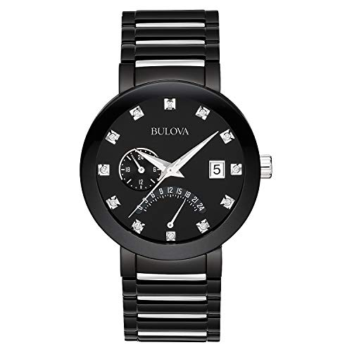 Bulova Men's 98D109 Diamond-Accented Black Stainless Steel...
