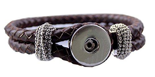 StyleKiste Echt Lederarmband Chunk Chunks Leder Armband geflochten Click Button Druckknöpfe (dunkelbraun)