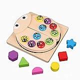 Wuqing Montessori Spielzeug Angelspiel Holz Steckwürfel, Formensortierspiel Pädagogisches...