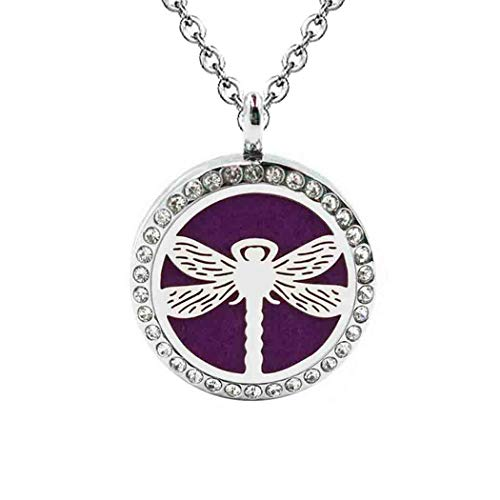 DIYear Fashion Cute Dragonfly Locket Pendant Aromatherapy Essential Oil Diffuser Necklace for Women Girls