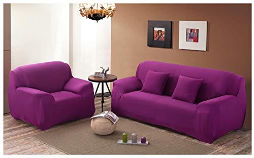 NLADTWLSD Funda de Sofá Elástica Color sólido Cubierta Protector para Sofá Ajustable Poliéster Spandex Cubre Sofá, Protector Cubierta para Sofá púrpura,2 Asiento (145-185 cm)