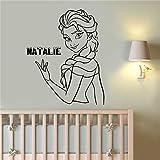 Stickers Muraux Princesse Elsa La Reine Des Neiges Nom Personnalisé Décor Nursery...