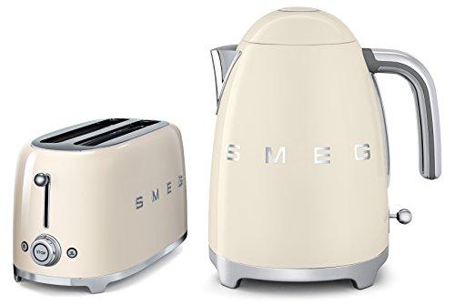 Smeg TSF02CRUK KLF01CRUK | 50er Jahre Retro Stil 4 Scheiben Toaster & Wasserkocher Set in Creme