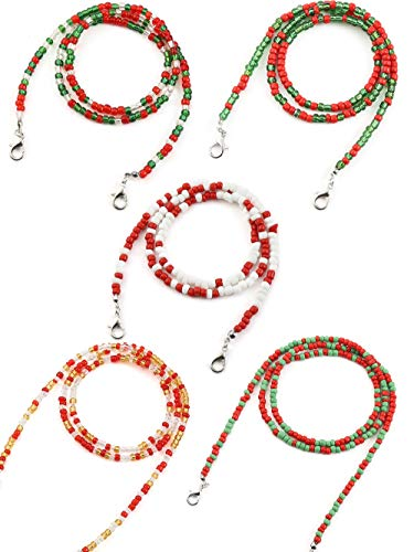 Glaring 5 Pack Christmas Face Mask Lanyard Chain Strap Colorful Beads Chain Holder for Women Kids Comfortable Around The Neck…