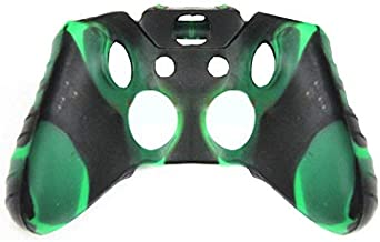 OSTENT Colorful Soft Silicone Protective Case Cover Compatible for Microsoft Xbox One Controller - Color Green and Black