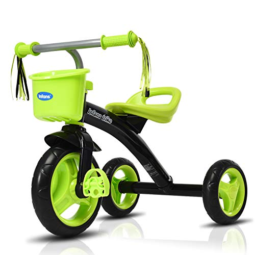 INFANS Kids Tricycle Rider with Adjustable Seat Storage Basket Premium Quiet Wheels NonSlip Handle Green