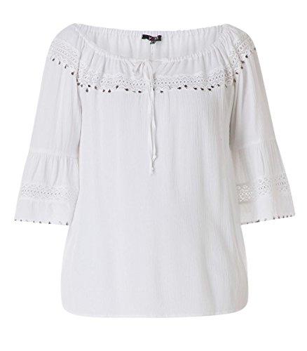X-Two Yesta Oversize Carmen-Bluse mit 3/4 Trompetenärmel große Größen Weiß Damen, Größe:48