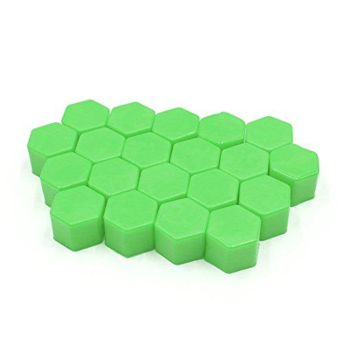 sourcing map 20pcs 19mm Silicone vert écrou roue moyeu roue voiture couvre poussière vis Protéger Caps