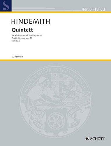 Quintett: 2. Fassung. op. 30. Klarinette (in B/Es) und Streichquartett. Stimmensatz. (Edition Schott)