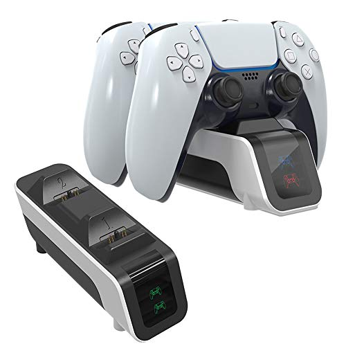 Aiboria Ladeständer für PS5 DualSense Controller, Regler Schnelles Dock für Zwei Ladestationen mit LED-Anzeige für Sony Playstation 5 Dualsense Controller