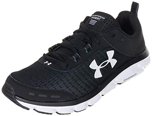 Under Armour mens Charged Assert 8 Running Shoe, Black/White, 10.5 US