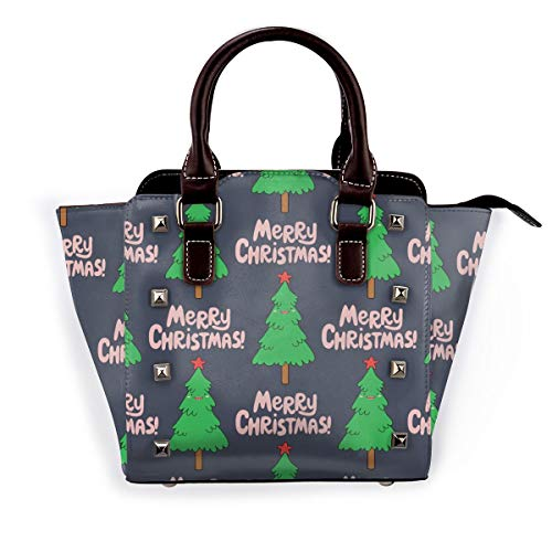 Damen Handtasche mit Flamingo-Motiv, echtes Leder, für Reisen, Schule, Mini-Handtasche, Pink - Weihnachtsbaum, Cartoon-Design - Größe: Einheitsgröße
