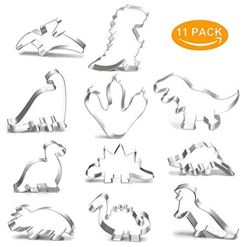 Sinwind Dino Ausstecher, 11 Stück Dinosaurier Ausstechformen Set Dinosaurier Keksausstecher Plätzchen Ausstecher aus Edelstahl für Kinder Dino Geburtstag Party Deko (11tlg Ausstechformen)