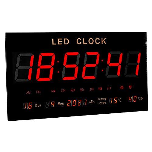 JEVX Reloj Digital de Pared Gigante XXL - para Colgar Led de Color Rojo Indicador de Humedad Relativa Medidor de Temperatura Calendario Fuente de Alimentacion Termometro