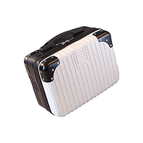 ミニスーツケース メイクケーストランクケース ハンドバッグ キャリーバッグ ミニトランク 防水 大容量 軽量 かわいい 出張 旅行 機内持ち込み可 20L以内 (B63黒と白)