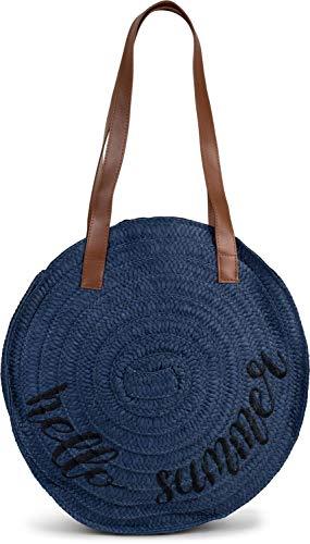 styleBREAKER Damen runde Korbtasche mit gesticktem 'Hello Summer' Spruch und Reißverschluss, Strandtasche geflochten, Schultertasche 02012288, Farbe:Dunkelblau