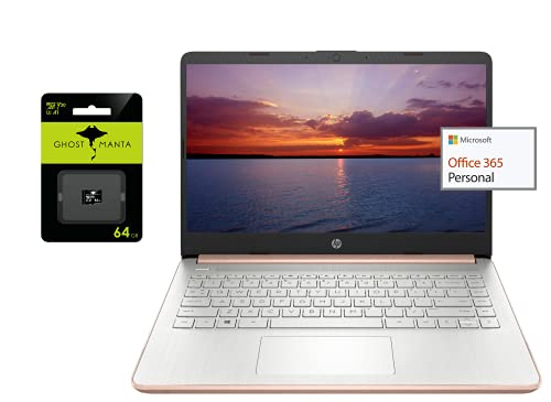 "2021 Newest HP 14"" Ultra Light Laptop, Intel N4020 Processor(Up to 2.8GHz), 4GB RAM, 128GB Storage(64GB eMMC+64GB Micro SD), 1 Year Office 365, Webcam, HDMI, WiFi, USB-A&C, (Google Classroom or Zoom)"