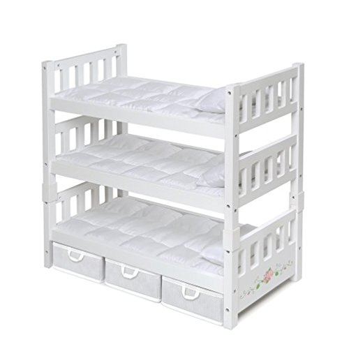 Badger Basket 1-2-3 Convertible Doll Bunk Bed with 3 Storage Baskets, White/Rose