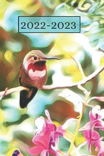 Green Hummingbird Lover's Ruby Red Throated Garden bird Dated Weekly 2 year Calendar Planner: Cute Small Pocket/Purse Size To-Do Lists,Tasks, Notes, ... (Calendar Books Years: Jan 2022- Dec 2023)