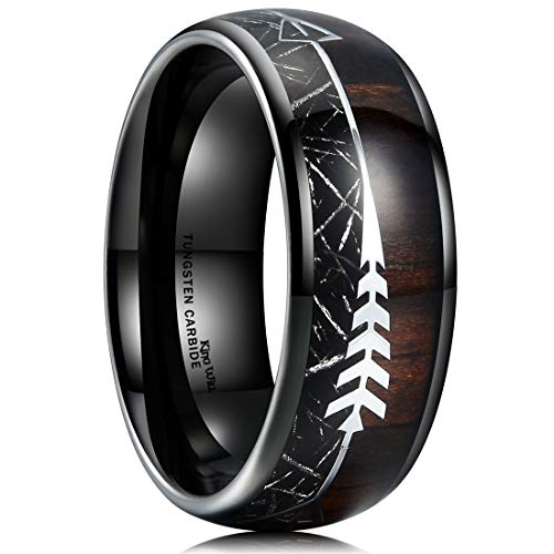 King Will NATURE 8mm Real Wood Inlay Tungsten Carbide Wedding Ring Imitated Meteorite Dome Style 14