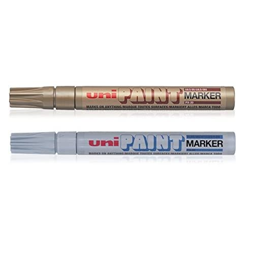 Gold//Silver uni-ball 153486255 Paint PX-21 Fine Tip Marker Pack of 2