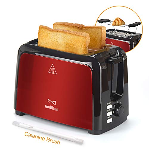 Best Buy! 2 Slice Toaster, Multifun Stainless Steel Toaster with Warm Rack, Removable Crumb Tray, 7 Bread Shade Settings, Reheat/Cancel/Defrost Function, Extra Wilde Slot for Bagels, Waffle UL Certified