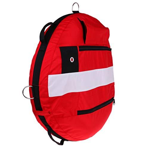 B Baosity Boya de Entrenamiento de Buceo Apnea Profesional, Flotador de Seguridad Inflable con Válvula de Alivio de Presión, Aparato de Inflar Oral - Rojo