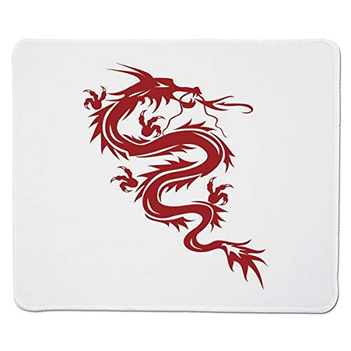 Yanteng Gaming Mouse Pad Japanischer Drache, Japanisches Mythologie-Thema Zierfigur rote Silhouette feurige Figur, rot weiß genäht Rand