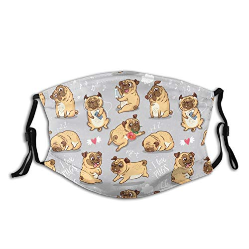 Cute Funny Pug Puppy Dog Face Mask With Filter Pocket Washable Balaclava Comfortable Reusable Adjustable Fabric Masks With 2 Filter