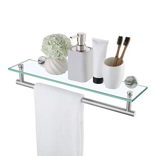KES Duschablage Glas Glasregal 8mm Hartglas Glasablage für Badezimmer Wandregal mit Handtuchhalter Edelstahl SUS 304 Duschregal Dusche Ablage Gebürstete, A2022S51-2