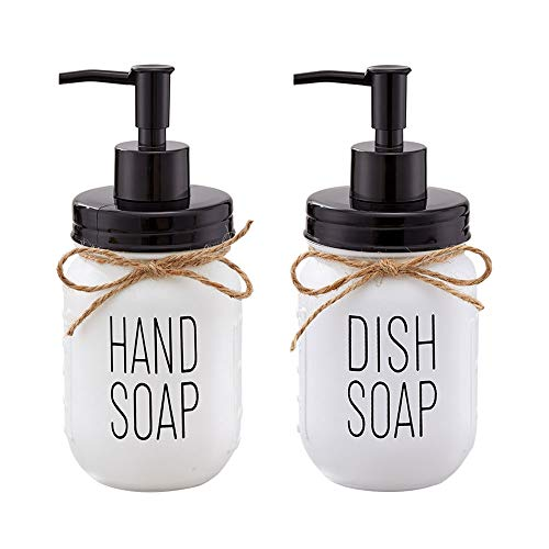Farmhouse Mason Jar Hand Soap Dispenser and Dish Soap Dispenser Set - 16 Ounce Glass Mason Jar with Plastic Pump and Lid - Rust Proof - Rustic Bathroom Accessories &Kitchen Home Decor - 2 Pack
