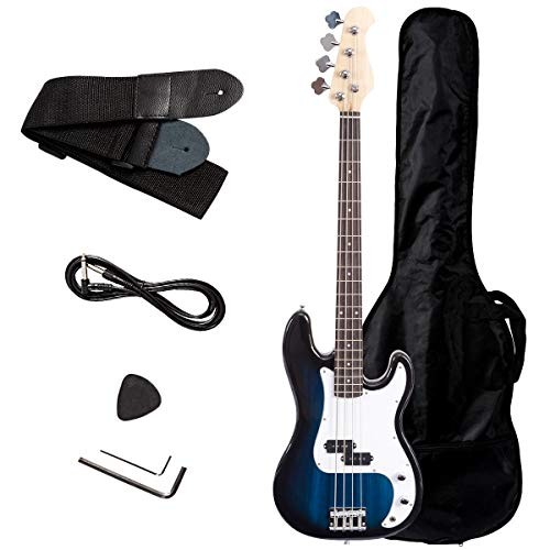 Rosewood Bass Guitar Under 100 Dollars With Cord, Strap and Gig Bag