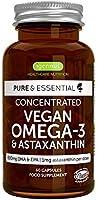 Pure & Essential Vegansk Omega 3 Algolja 1340mg, DHA & EPA 600mg, Astaxantin 1mg, 60 kapslar